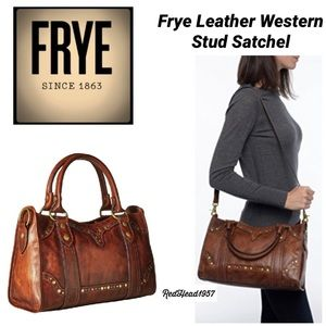 🔥💃🏻Frye Leather Western Stud Satchel NWOT!👜🥳
